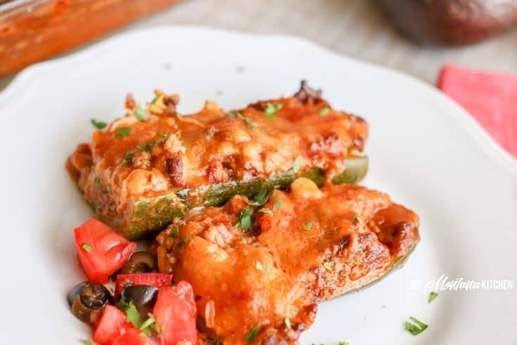 low carb beef enchilada zucchini on white plate