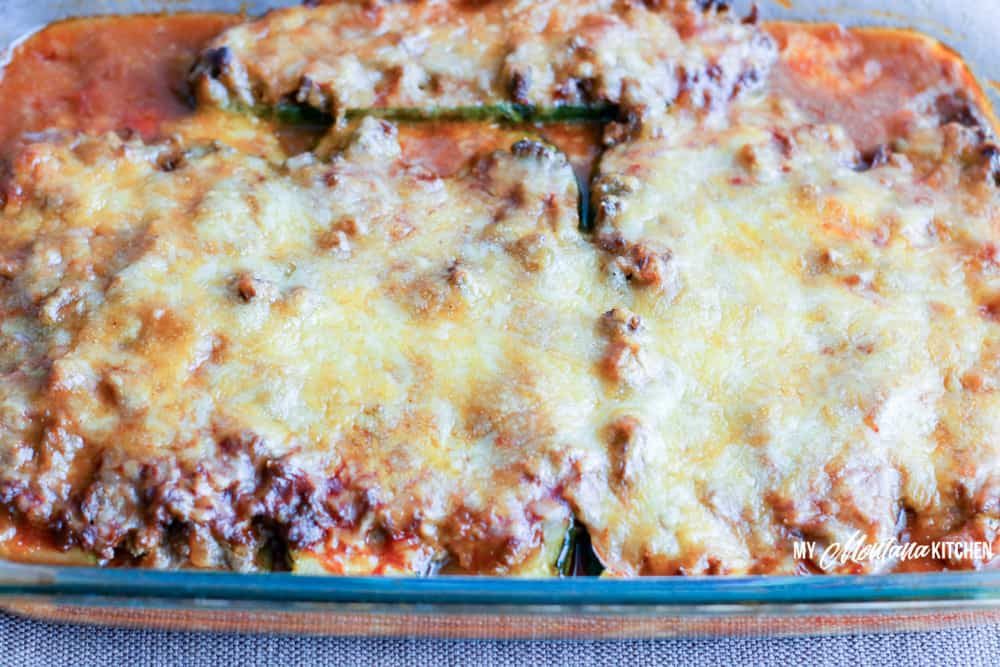 baking the Beef Enchiladas Stuffed Zucchini in the casserole dish