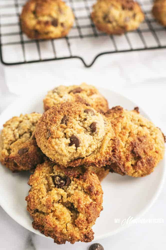low carb chocolate chip cookies on a plate