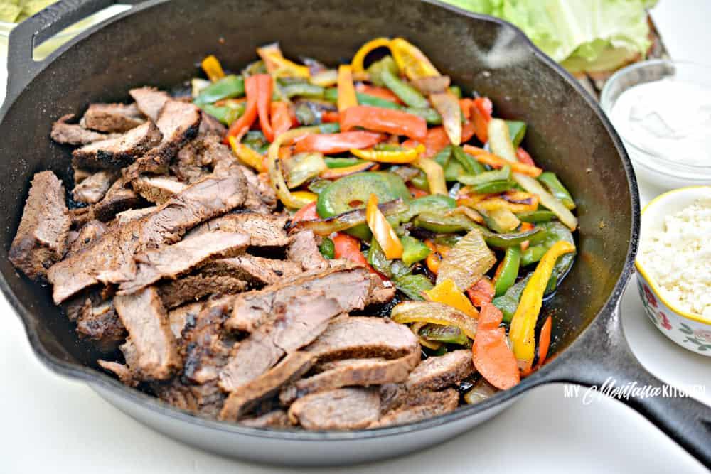 cooked ingredients for beef fajita lettuce wraps