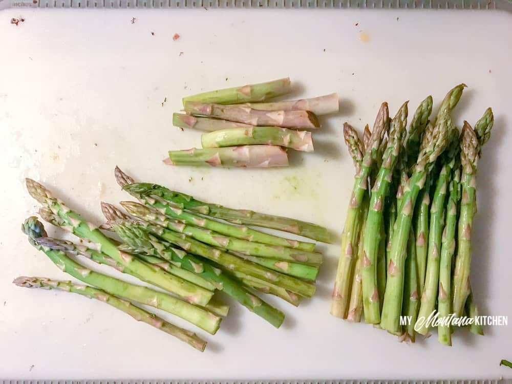 Ingredients for crustless asparagus ham quiche