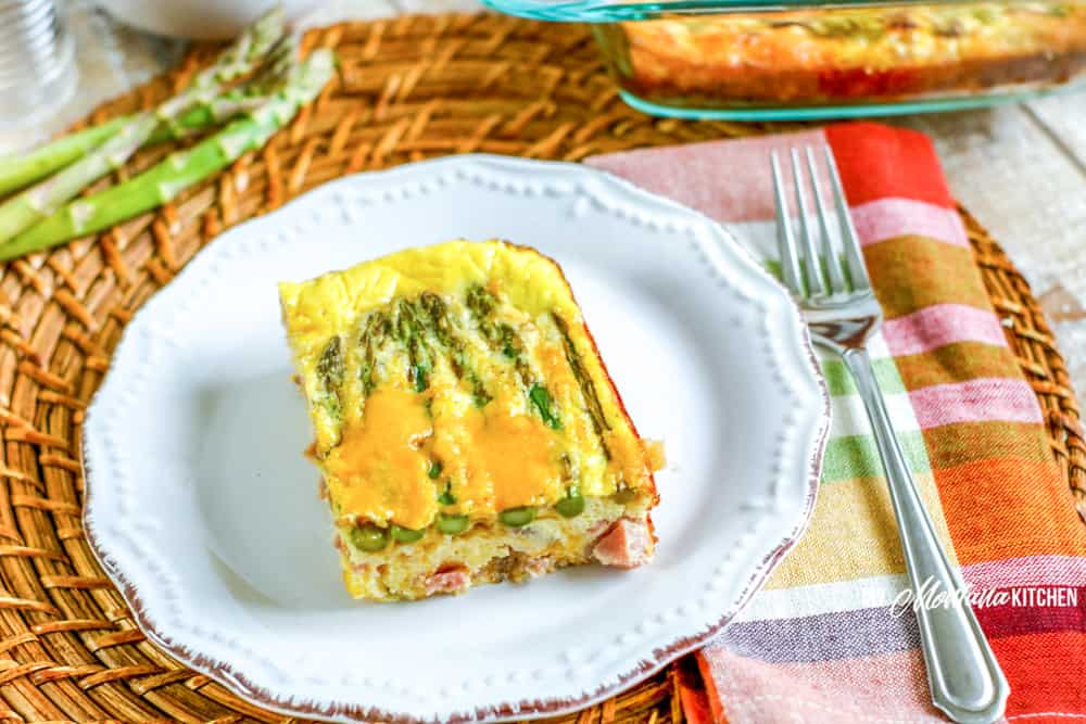 Image of keto asparagus ham quiche