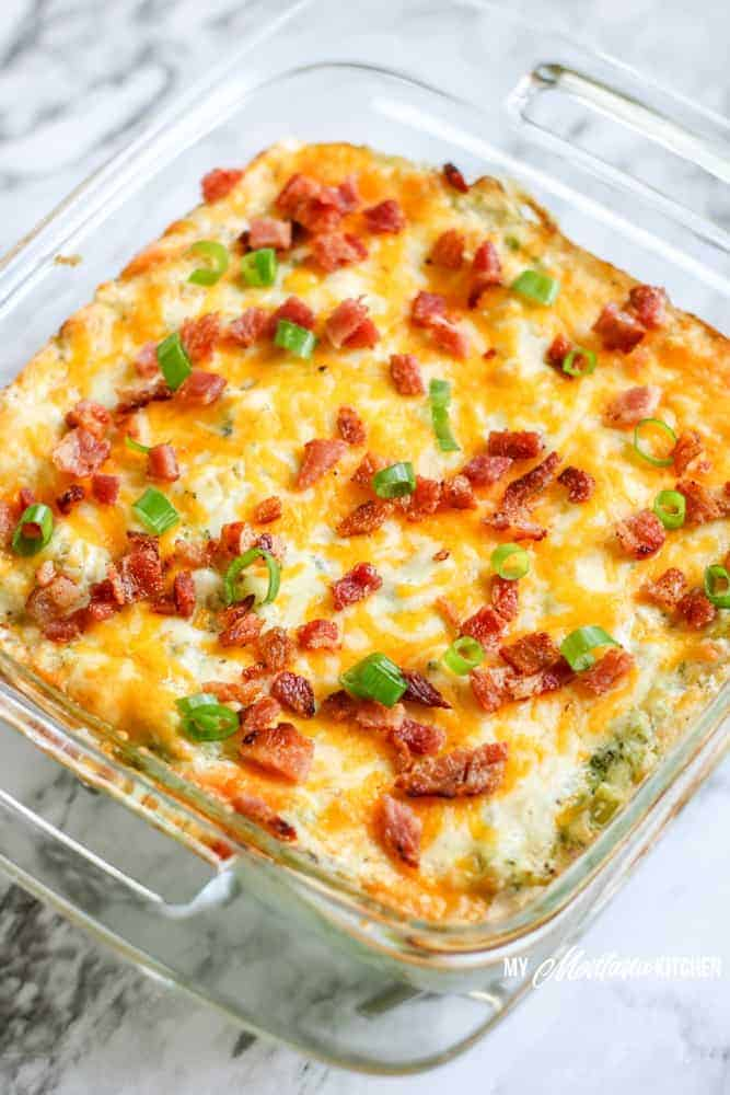 Loaded Cauliflower Casserole with Bacon and Broccoli