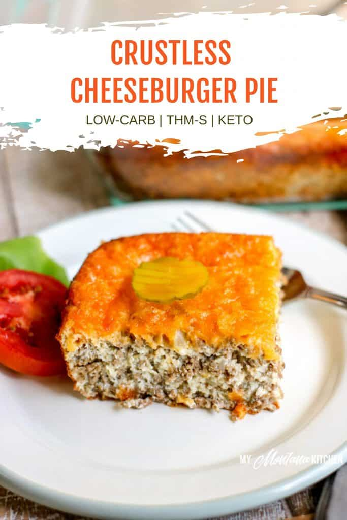 cheeseburger pie on white plate pinterest image