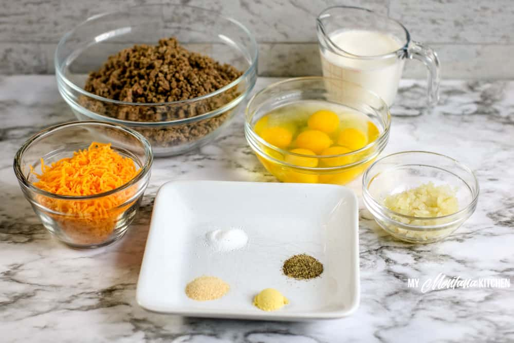 ingredients for crustless cheeseburger pie