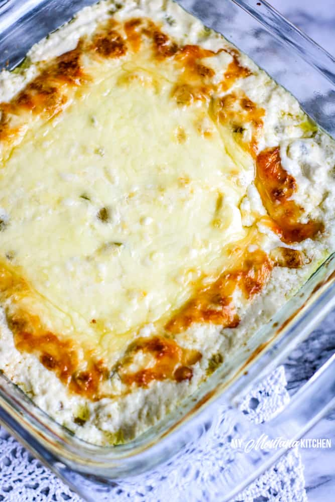 baked jalapeno popper dip on lace tablecloth