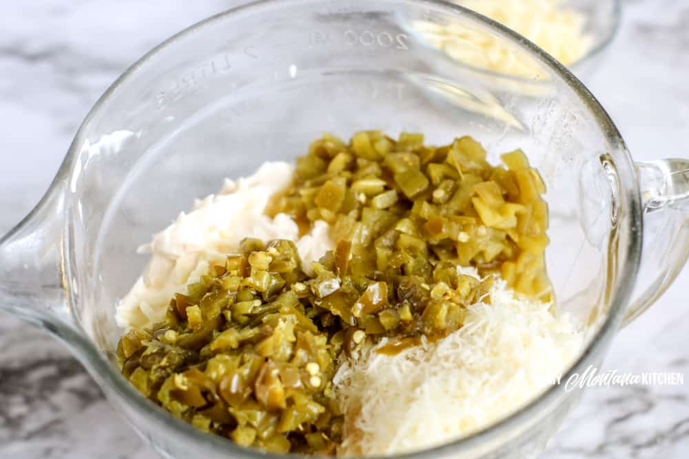 jalapenos and green chiles with cream cheese and shredded cheese