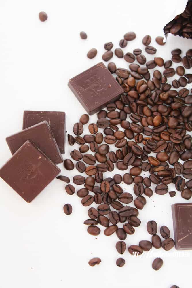 chocolate squares and espresso beans