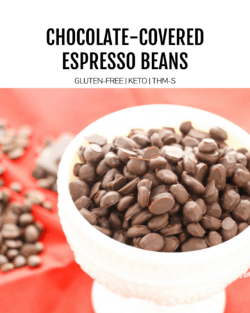chocolate covered espresso beans in white dish