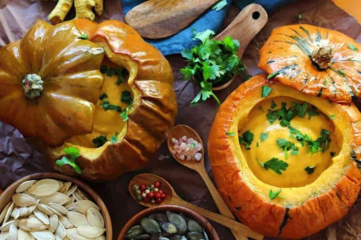 Roasted Low Carb Pumpkin Soup Recipe served inside Baked Pumpkin