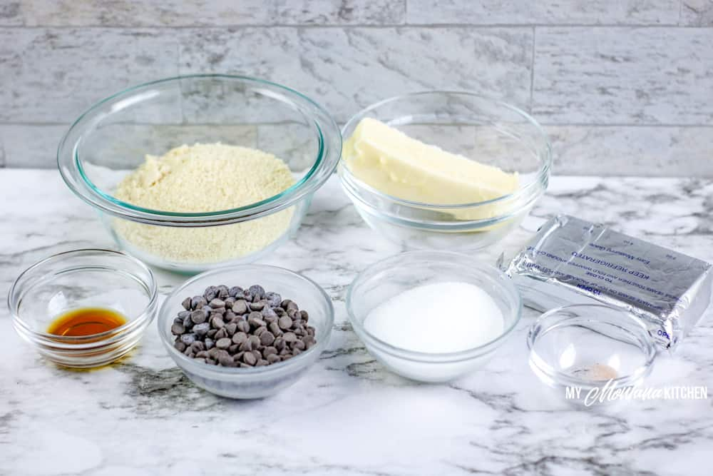 Image of ingredients for cookie dough fat bombs