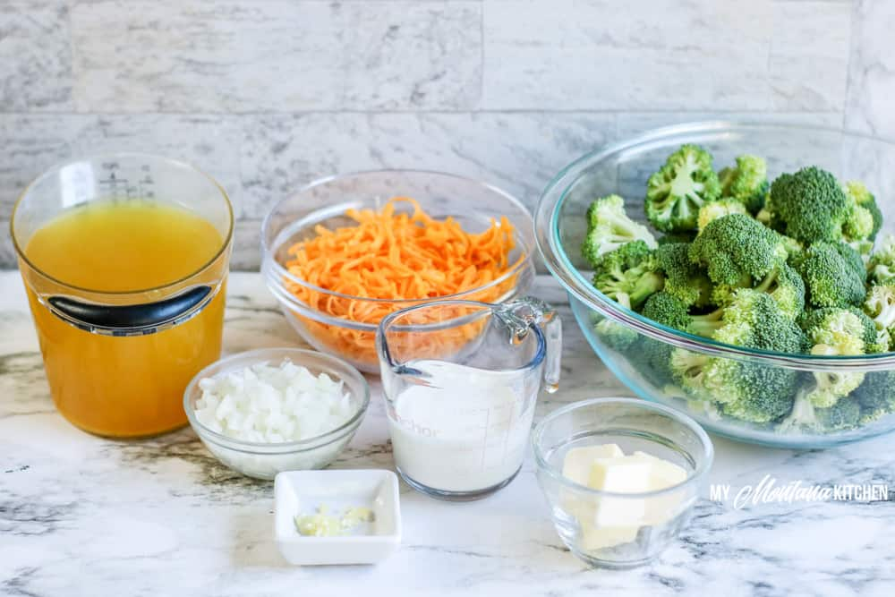Ingredients for keto broccoli cheese soup