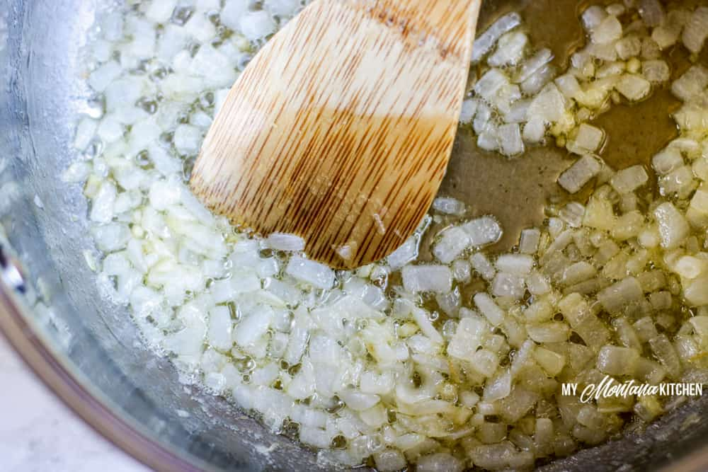 Sauteing onions for low-carb broccoli cheese soup.