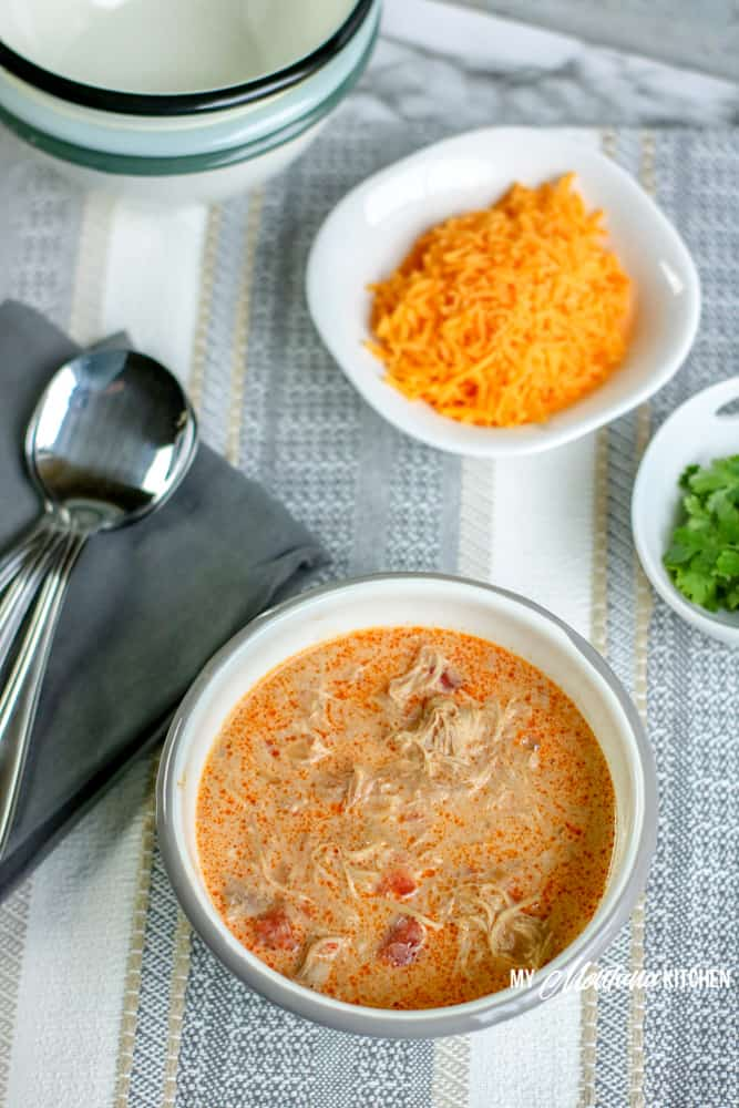 keto chicken taco soup plus toppings