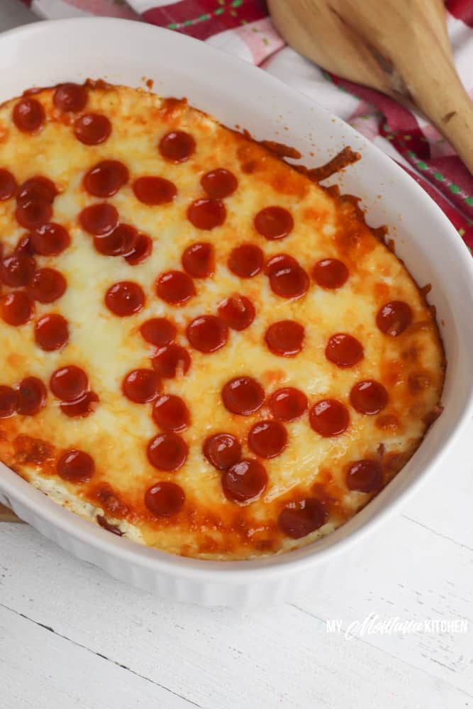 Freshly baked low carb pepperoni dip
