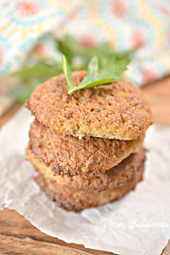 sausage breakfast cookies stacked with herbs