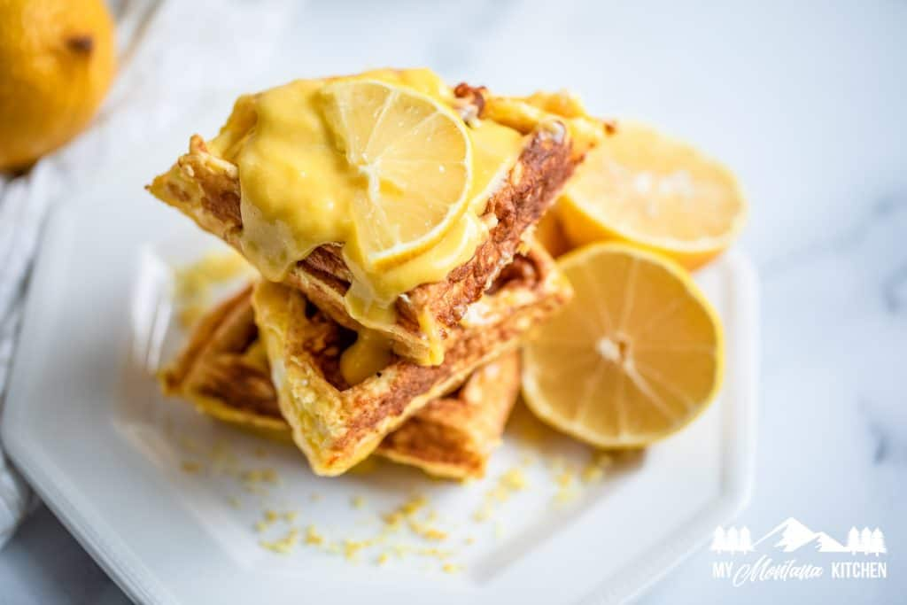 Cream Cheese Chaffle with lemon curd topping