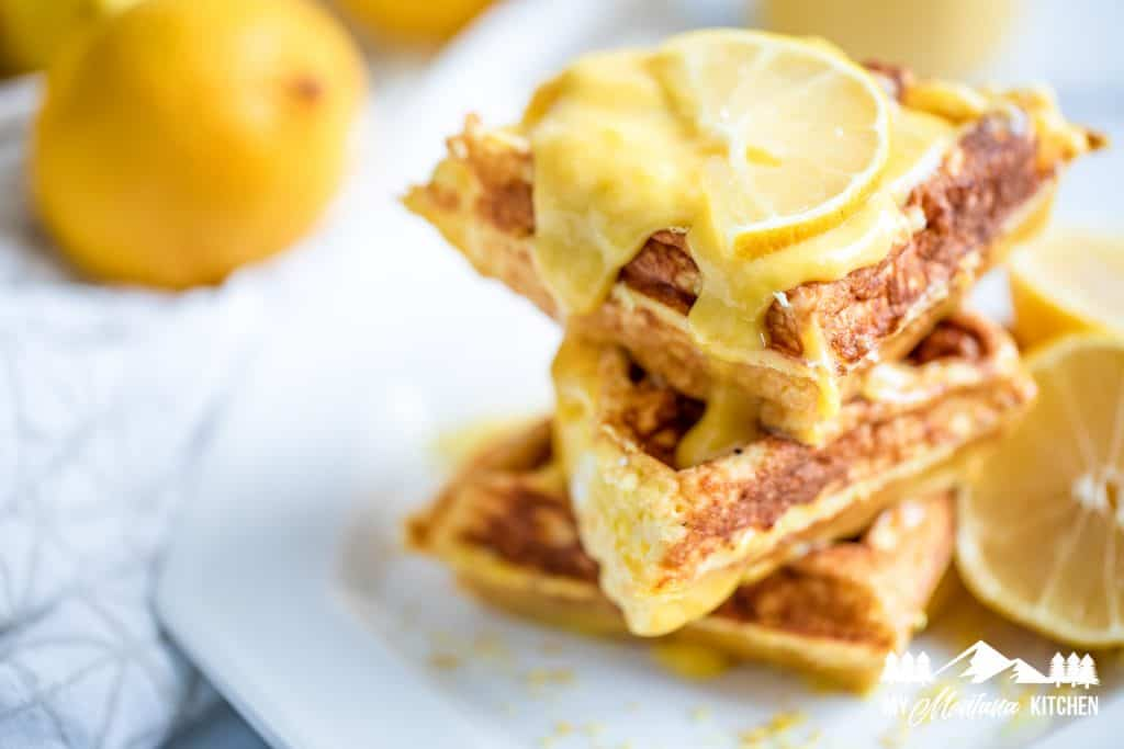 Image of chaffle topped with low carb lemon curd