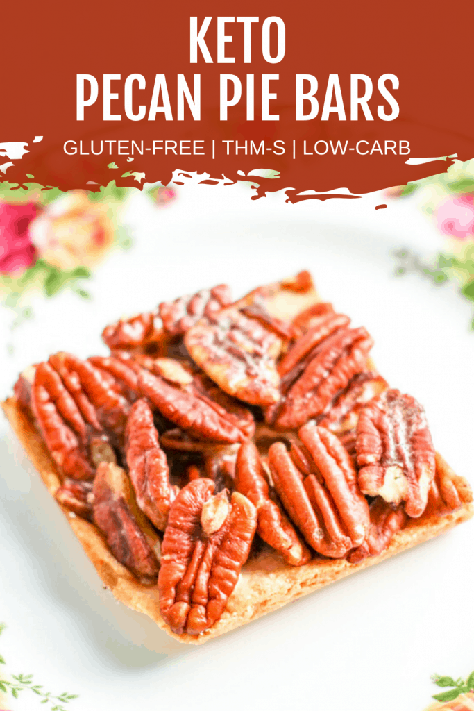 Pinterest image for keto pecan pie bars