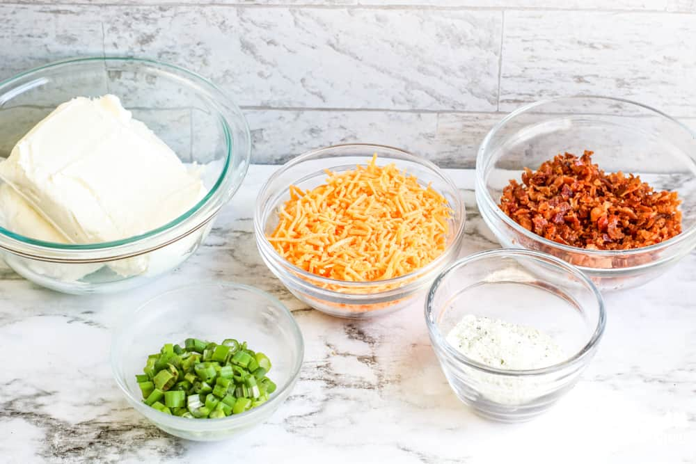 Ingredients for bacon ranch cheese ball