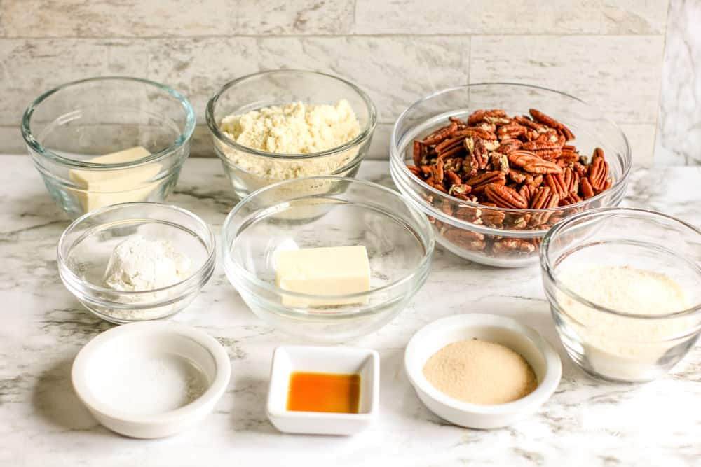 ingredients for low carb pecan pie bars