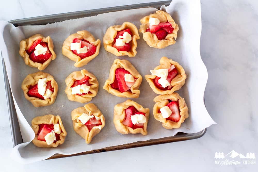Ingredients for keto strawberry galettes