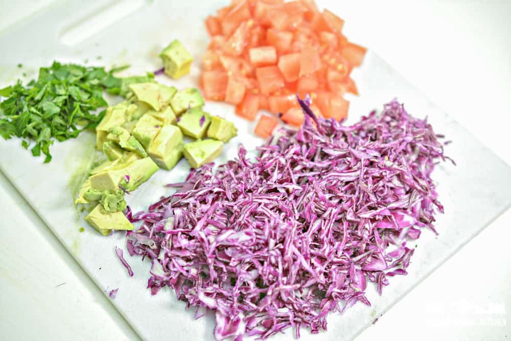 Ingredients for keto shrimp lettuce taco wraps