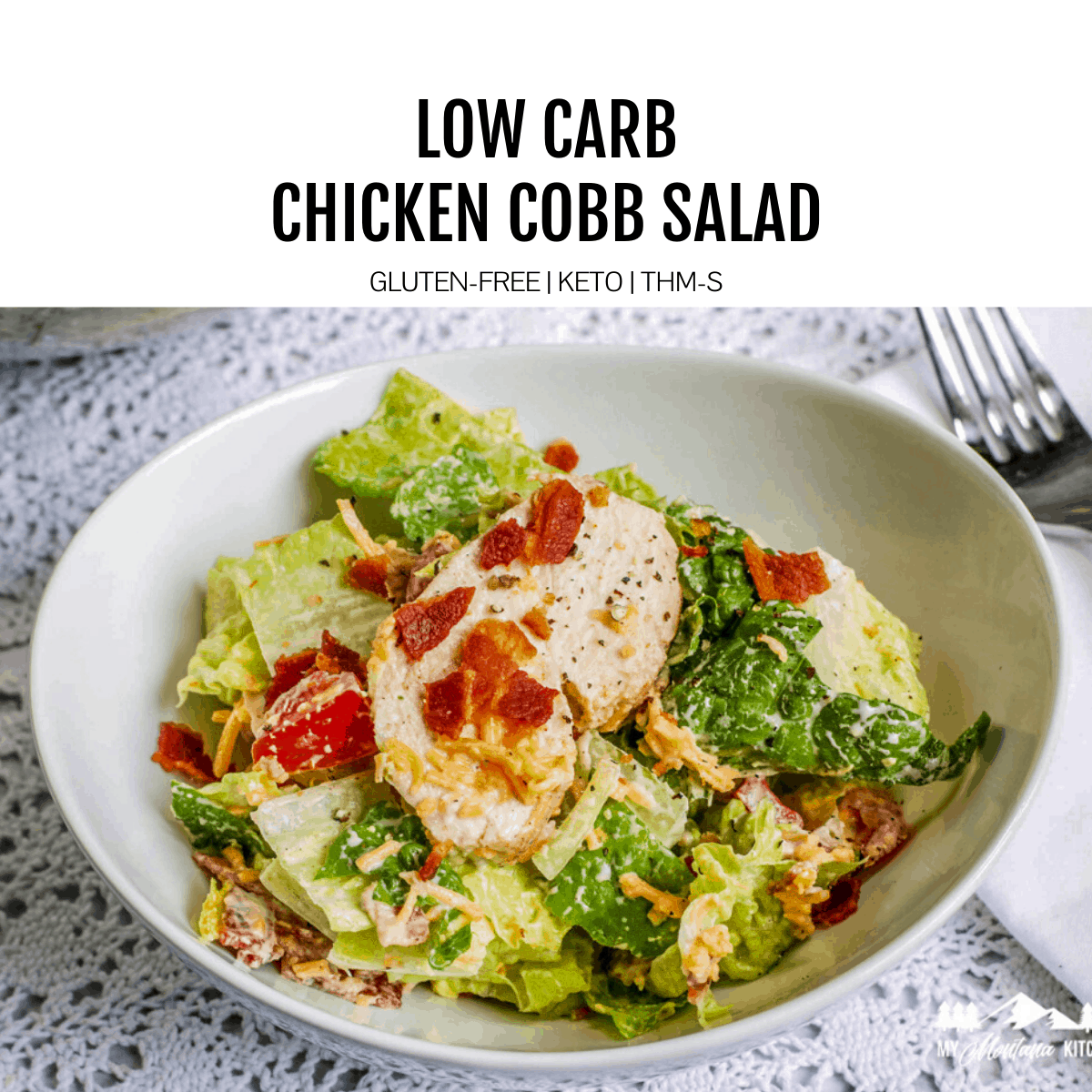chicken cobb salad in bowl