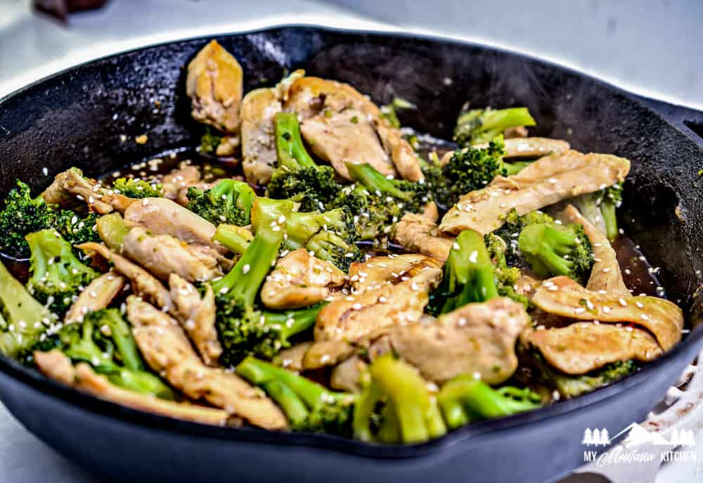 chinese chicken and broccoli in iron skillet