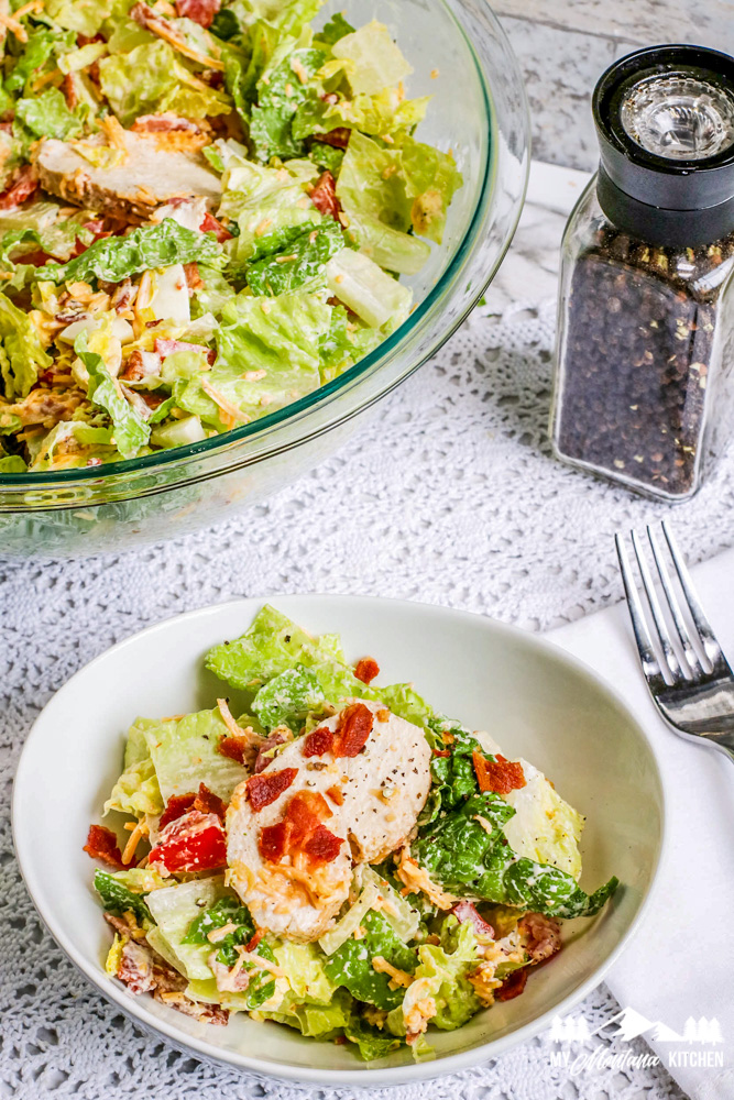 single serving of cobb salad in bowl