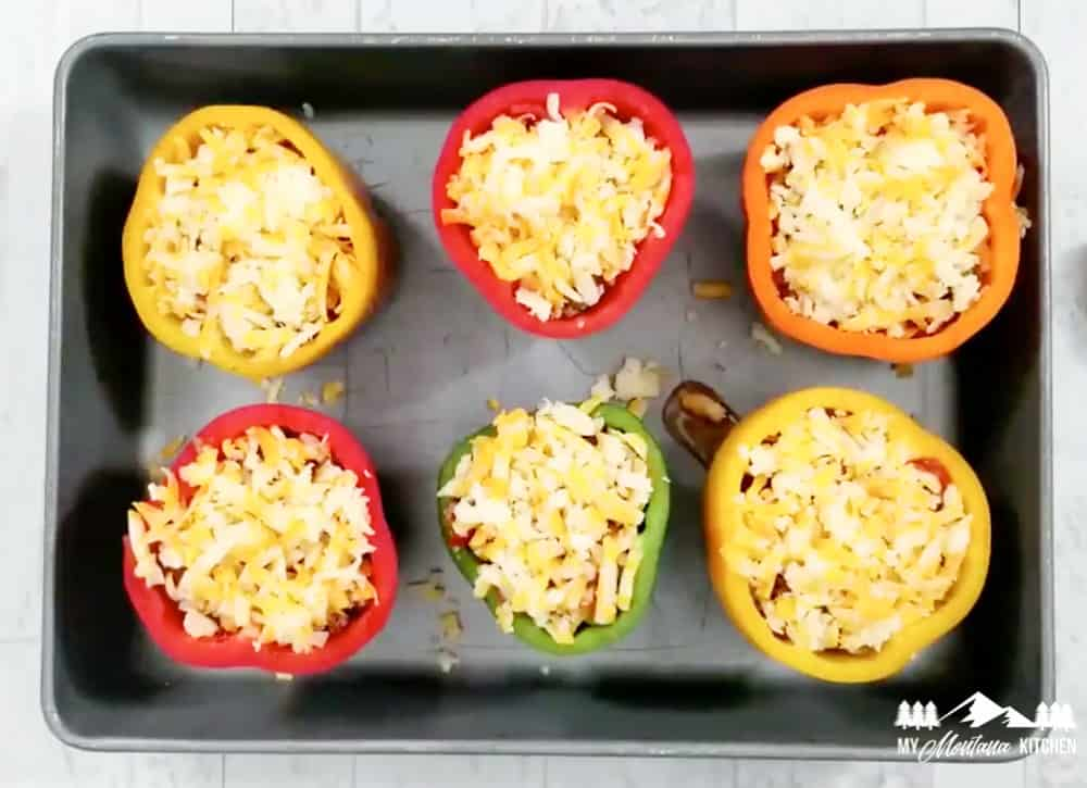 keto stuffed peppers in pan