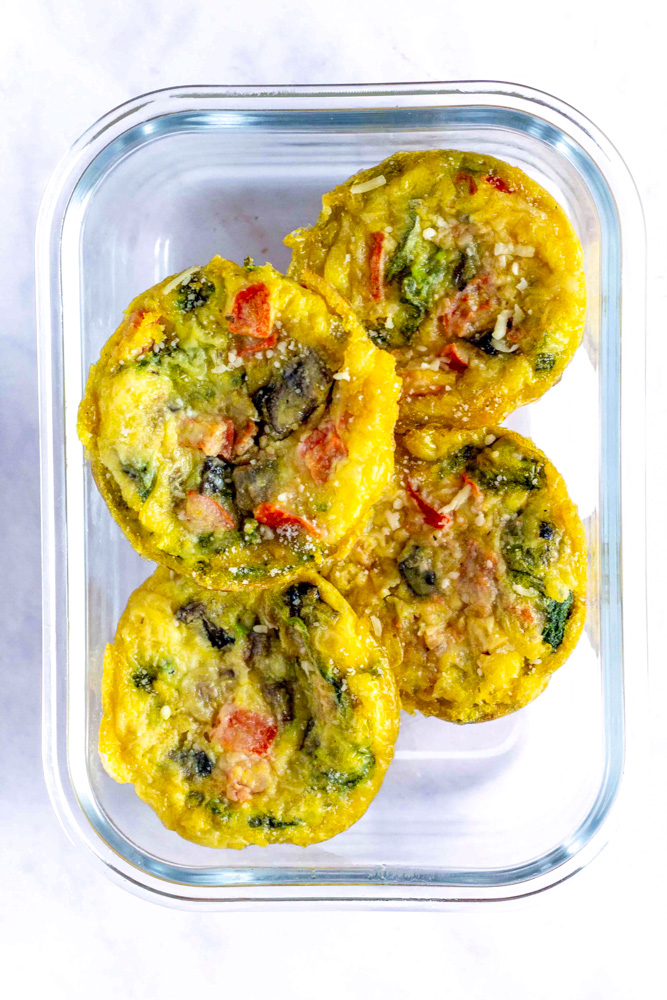 egg muffins in glass dish