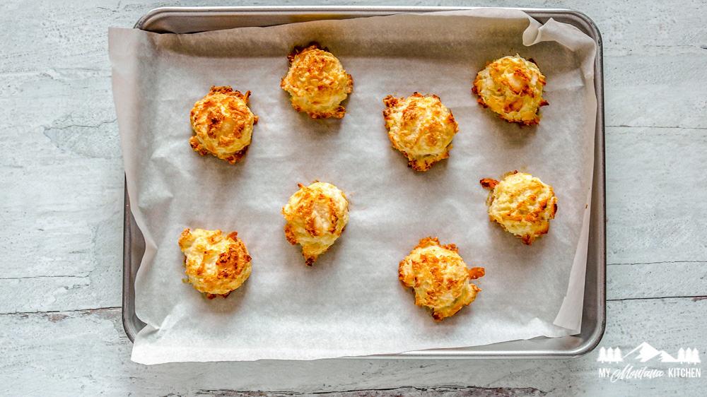 baked keto macaroons on baking tray