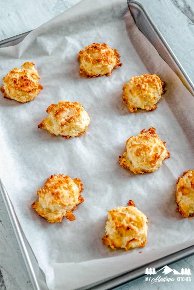baked keto macaroons on baking sheet