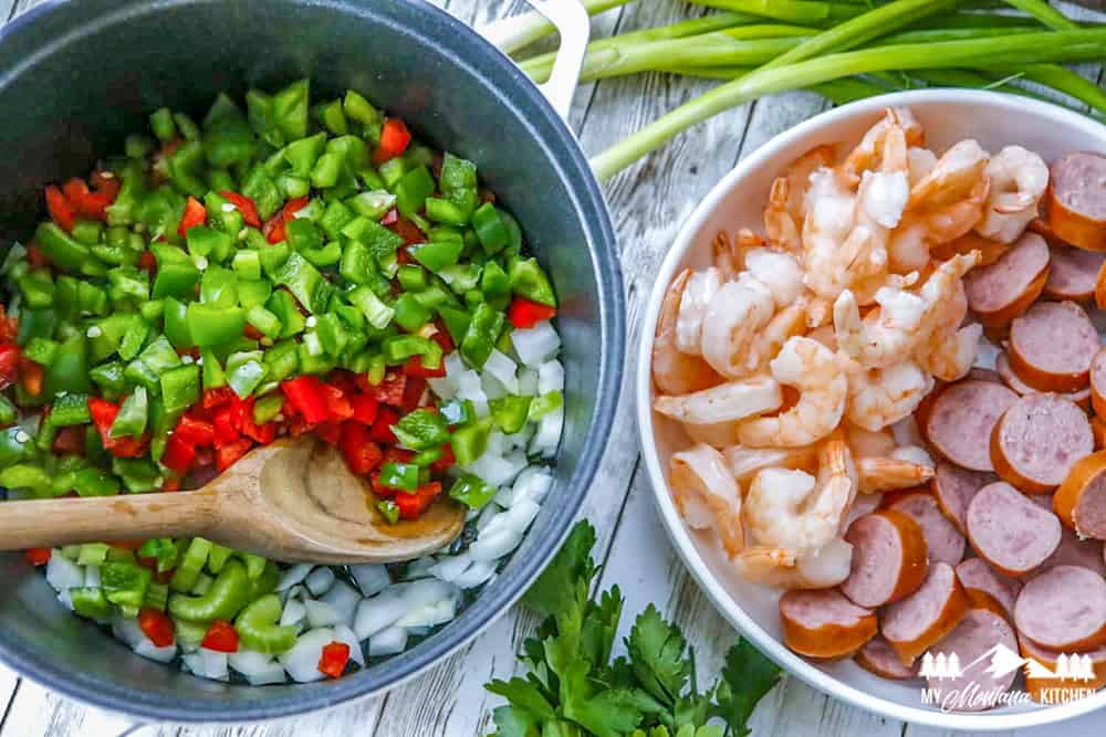 vegetables in pot and shrimp and sausage
