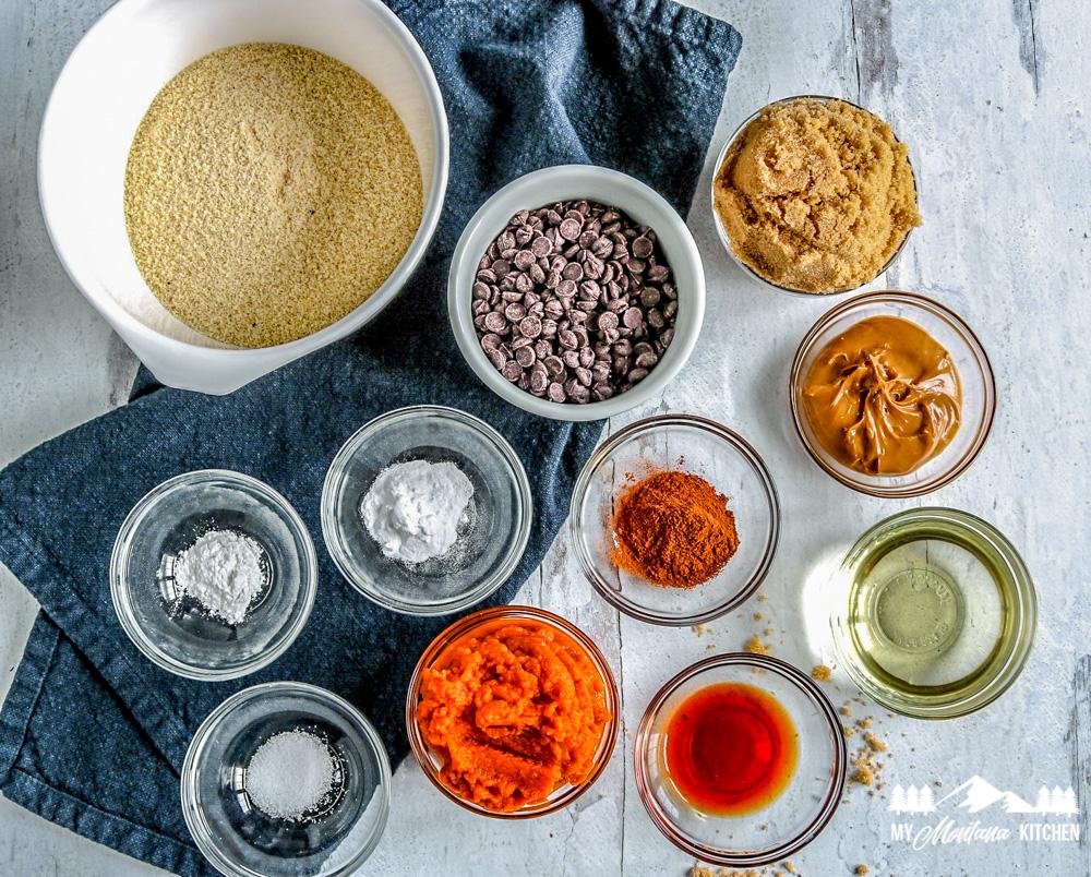 vegan pumpkin brownie ingredients