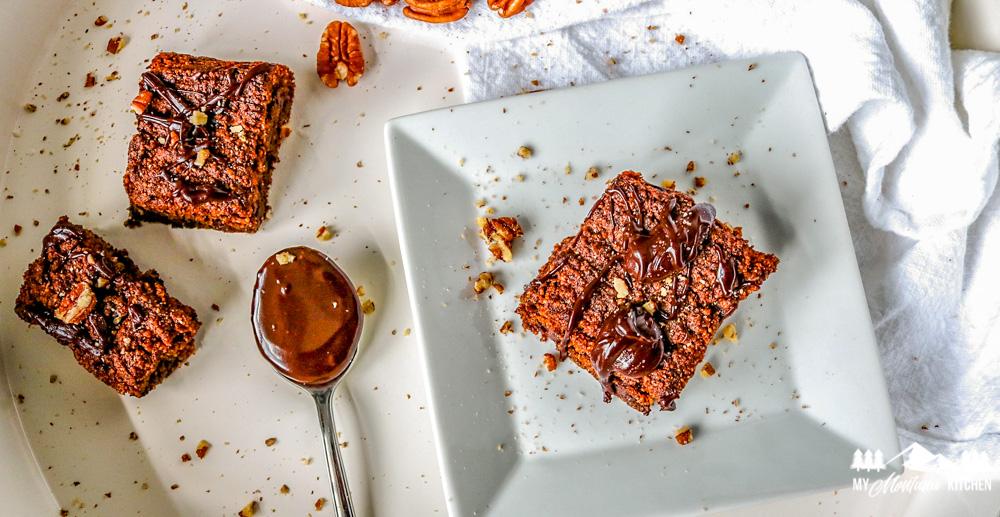 keto pumpkin brownies on white plate