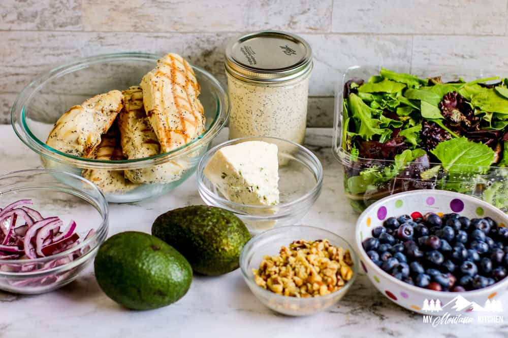 Blueberries, Greens, Chicken and Dressing, Salad Toppings