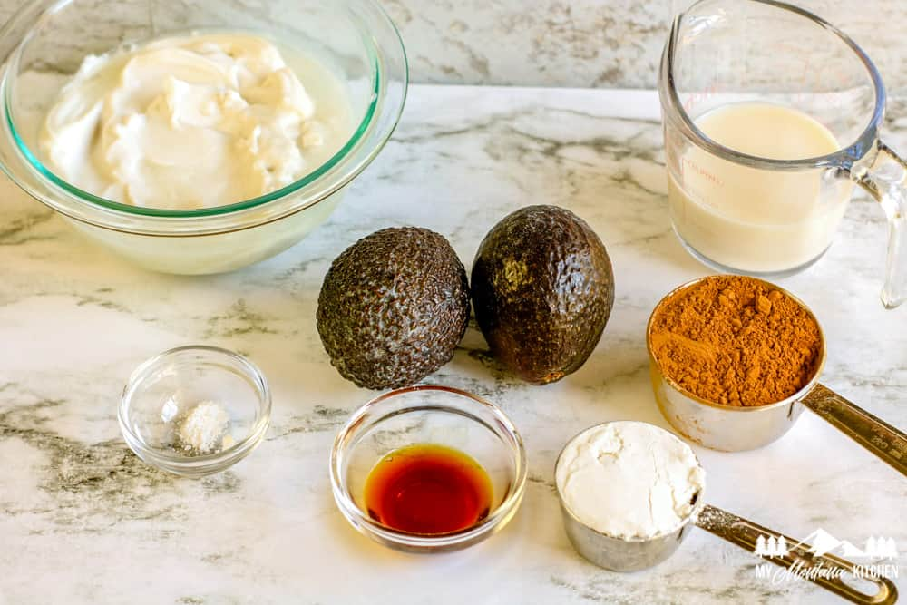Ingredients for Chocolate Avocado Ice Cream