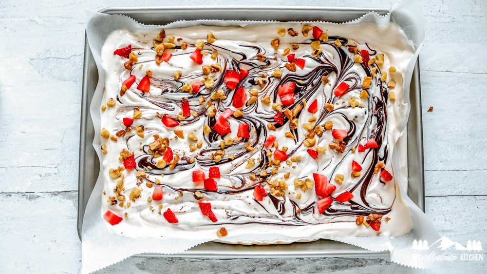 Sprinkle with strawberries and walnuts