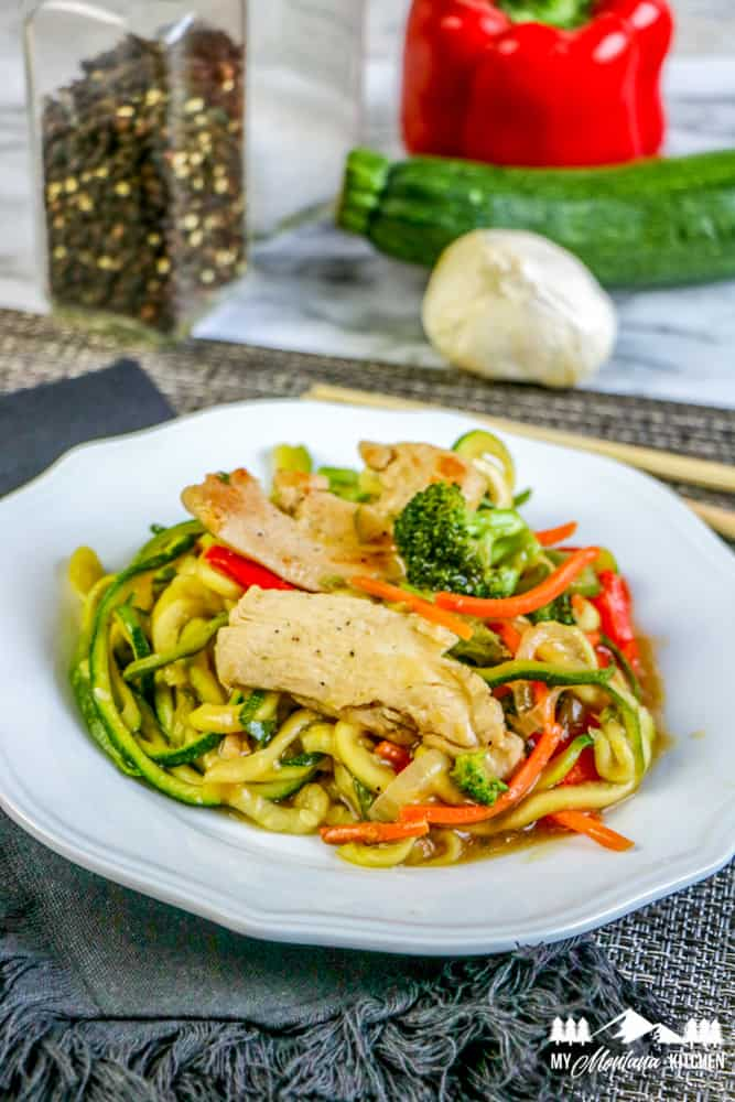 keto chinese lo mein in white dish with chopsticks
