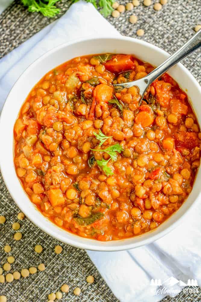instant pot lentil soup with spoon
