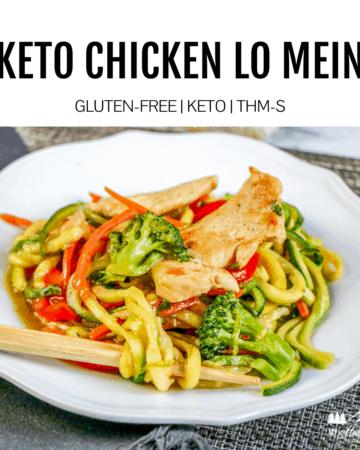 keto chicken lo mein on white plate